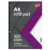 Club A4 Refill Pad 160 Pages 80 Leaves - narrow feint & margin